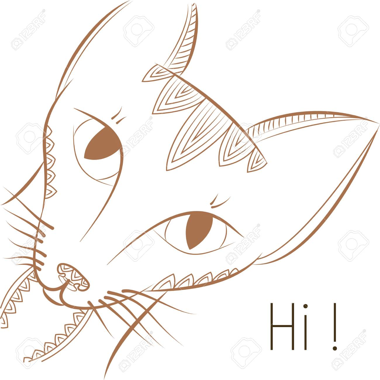 Template Greeting Card Vector Illustration Doodle Cat Says Hi On