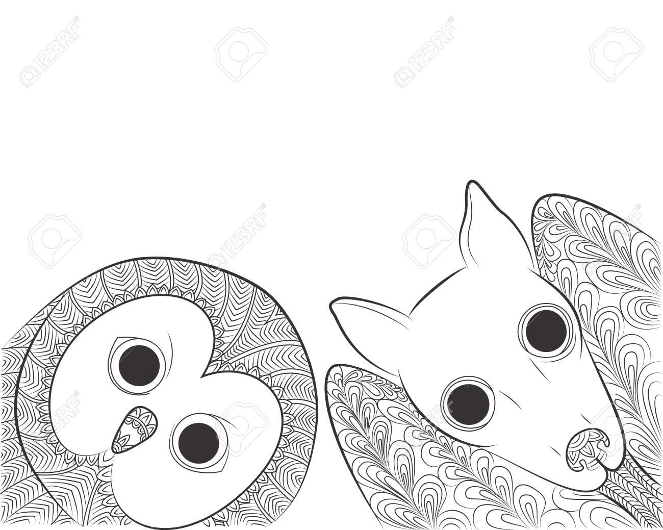 Doodle Ilustración De Vector De Búho Y Cabeza De Murciélago. Pájaro ...