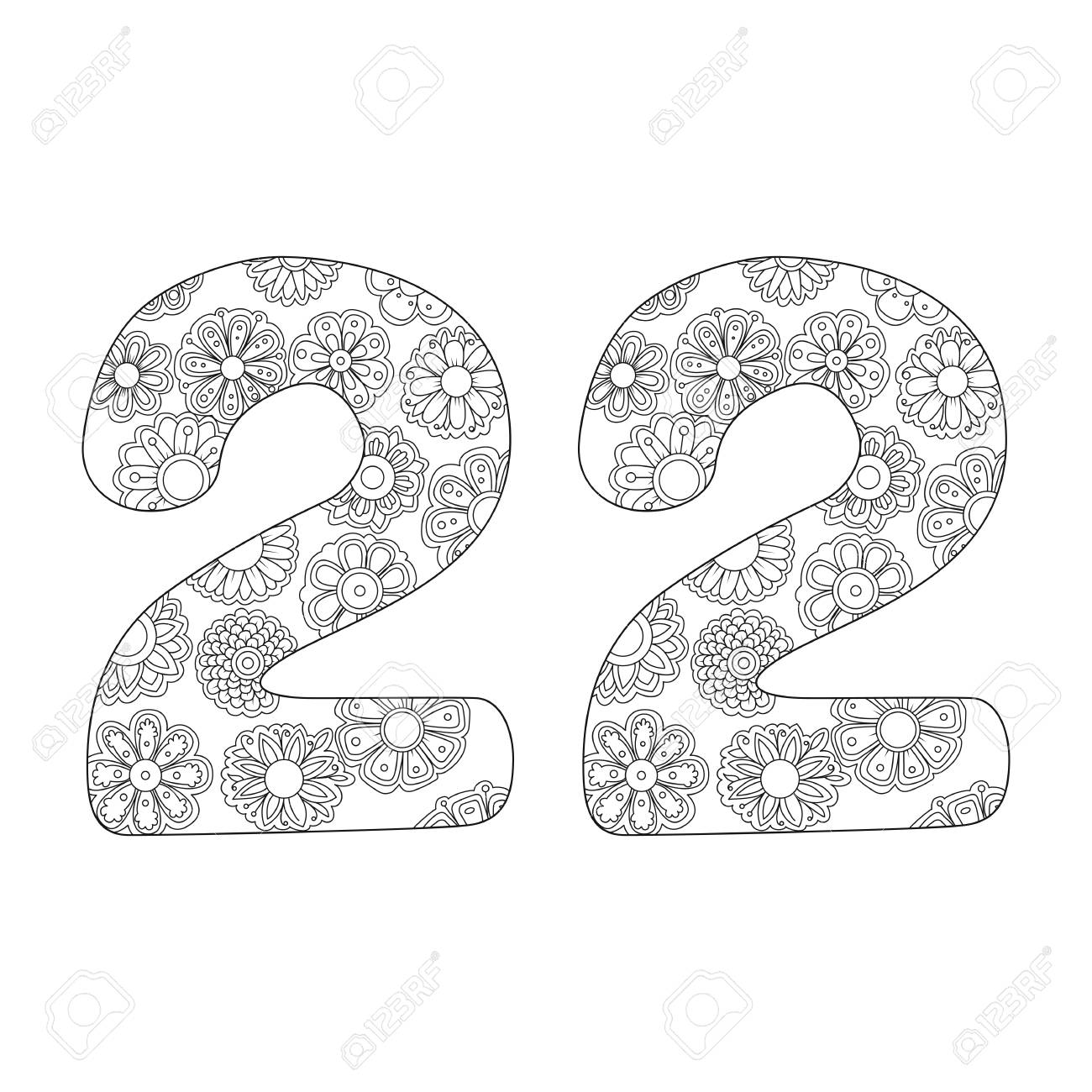 - Zen Coloring Book For Adults Number Twenty-two. Figure 22 Tangle