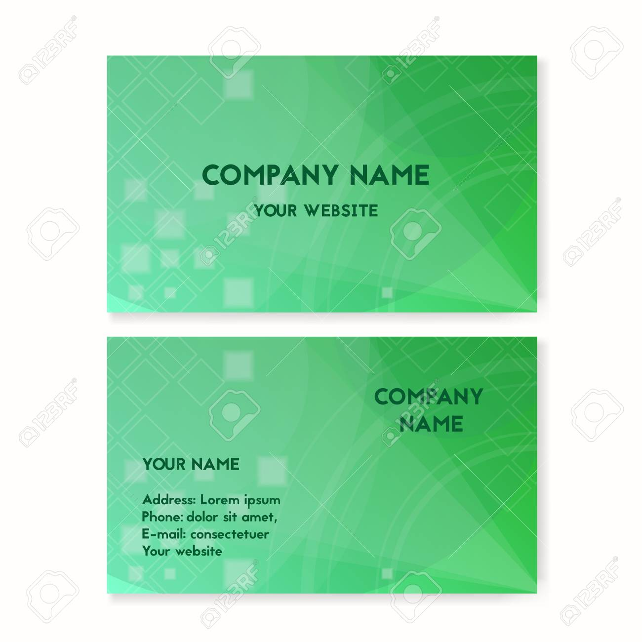 Business Card Green. Plants On The Planet Earth Vector Illustration ...