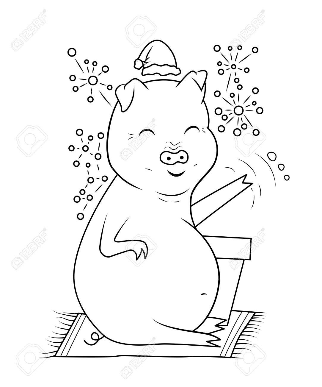 Livre De Coloriage De Porc Et De Feux D Artifice Carte Postale Pour Bonne Annee 2019 Illustration Vectorielle Clip Art Libres De Droits Vecteurs Et Illustration Image 97700201