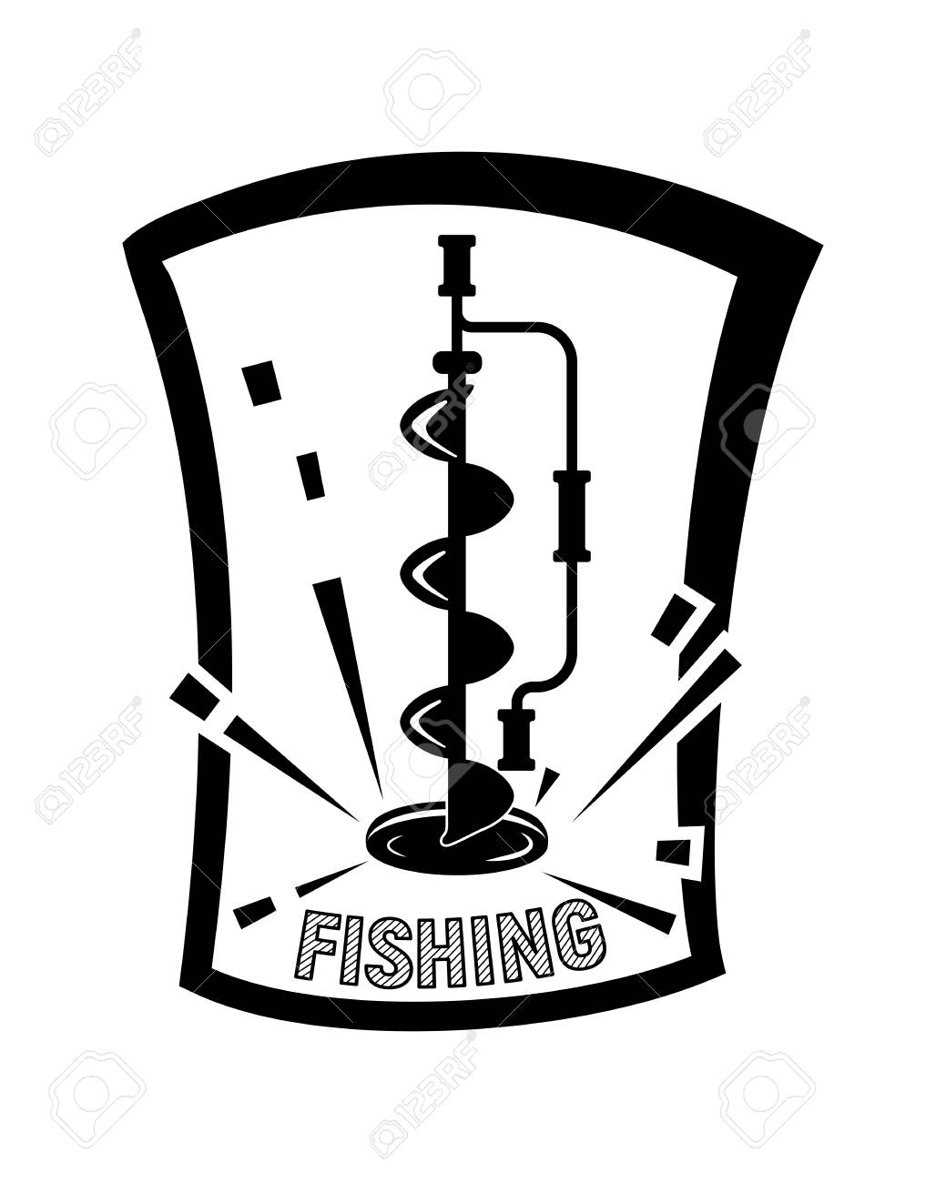 winter ice fishing black and white vector illustration simple royalty free cliparts vectors and stock illustration image 106955717 winter ice fishing black and white vector illustration simple