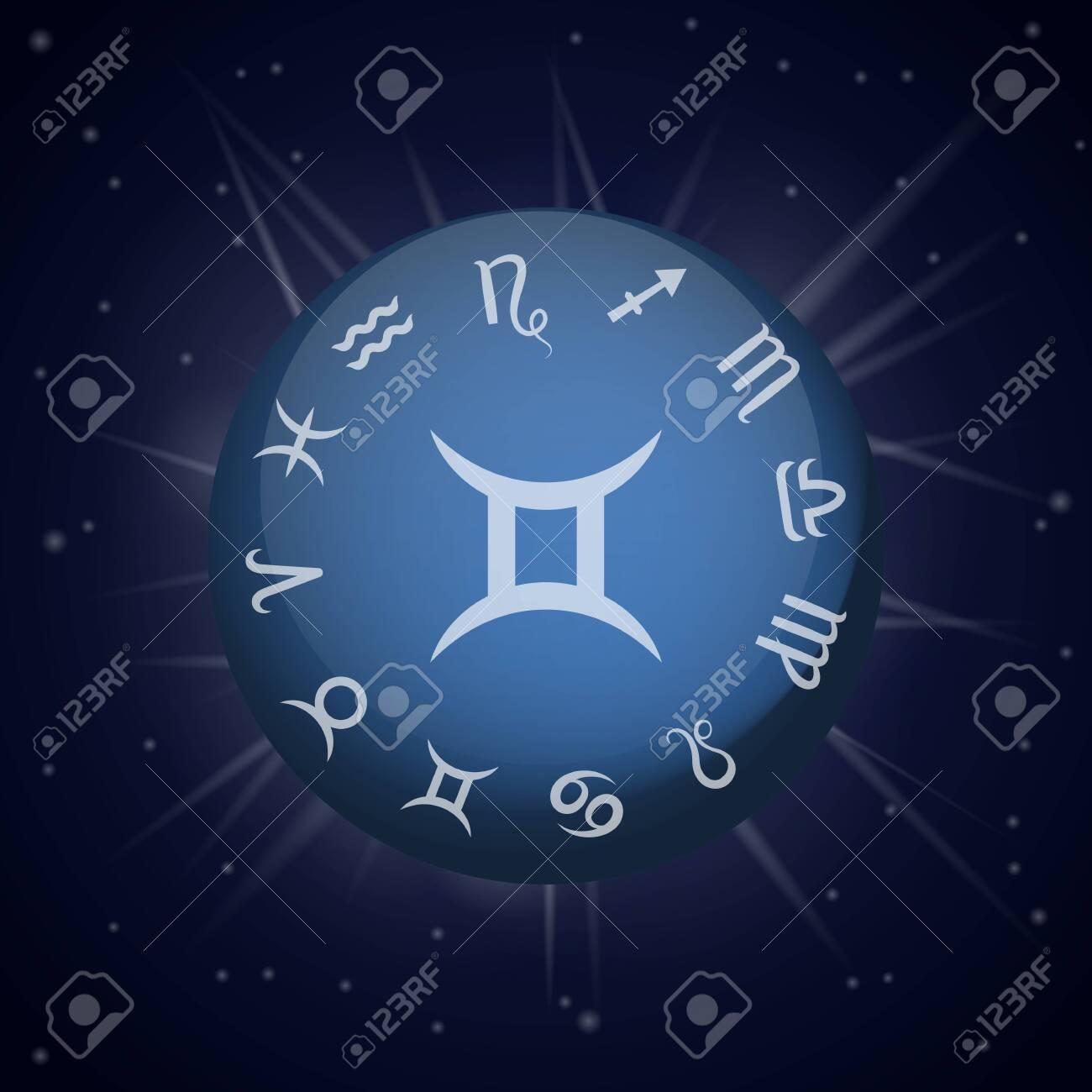 Gemini zodiac sign  Astrological horoscope  Vector illustration