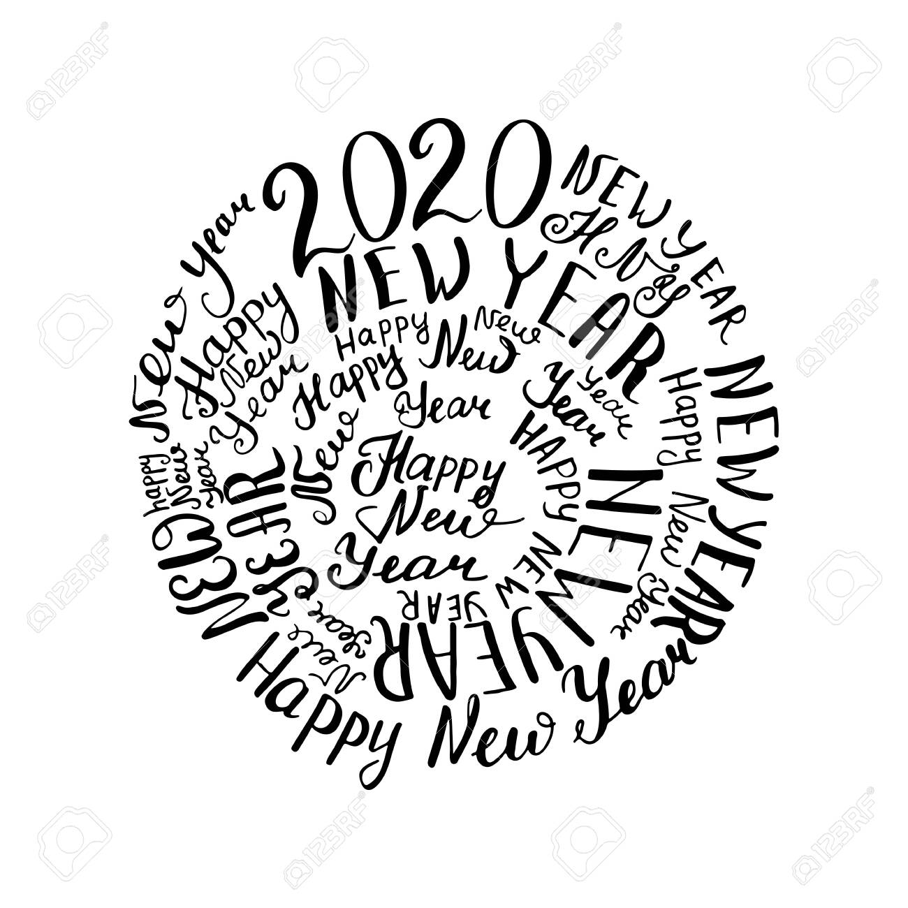 New Words 2020.2020 New Year Calligraphic Words Vector Illustration Black