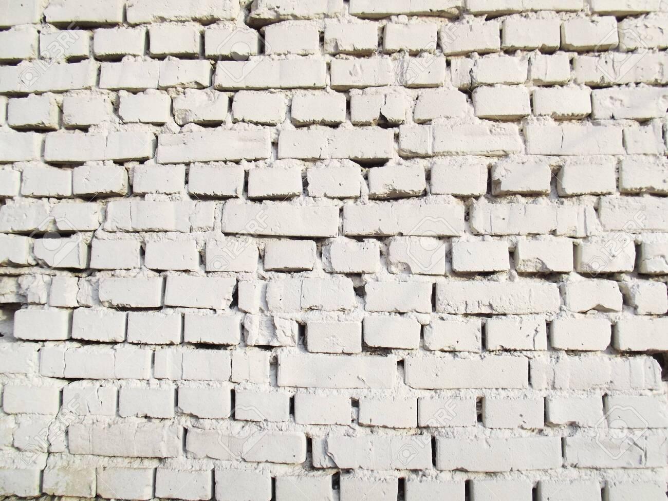 White brick wall. Grunge texture. Vintage brickwall masonry - 135070149