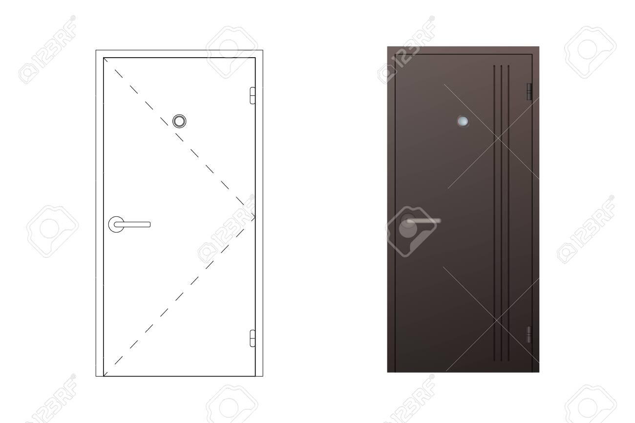 doorway schematic steel outdoor door vector illustration a schematic blueprint  steel outdoor door vector illustration