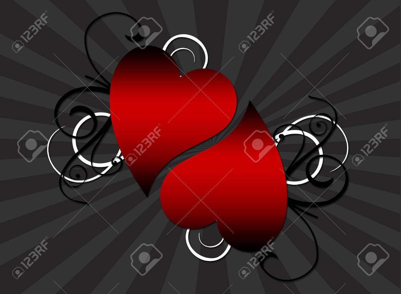 A decorative background featuring a pair of hearts Stock Vector - 2812736
