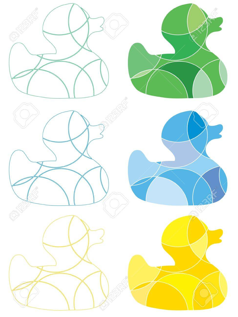 Abstract colourful rubber ducks Stock Vector - 12483716