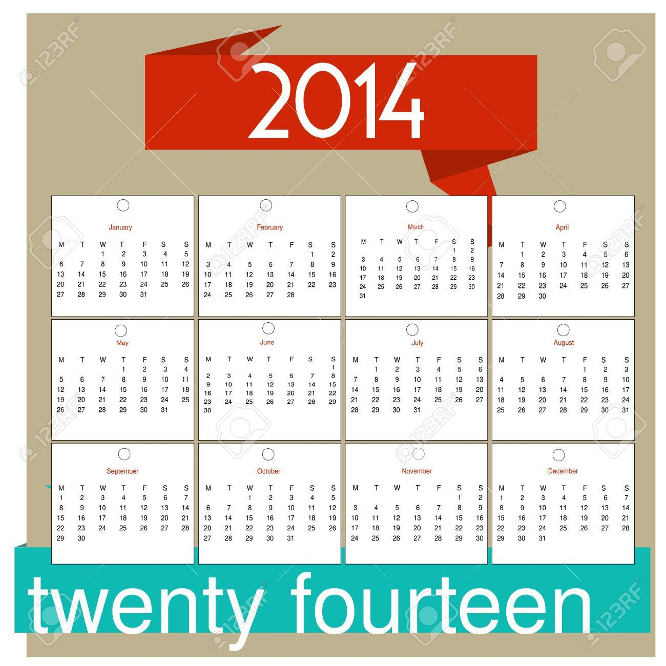 2014 12 Month Calendar Royalty Free Cliparts Vectors And Stock