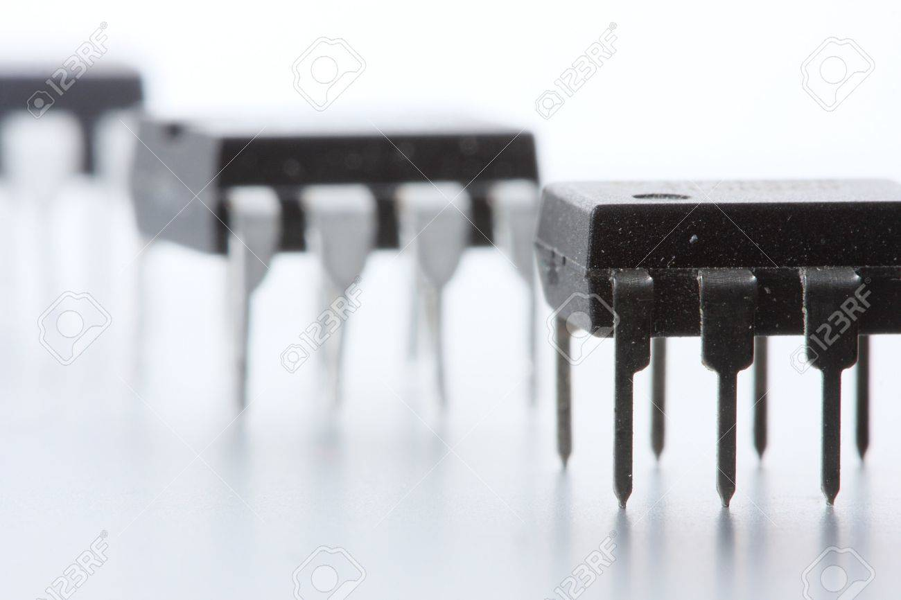 Three Dip 8 Format Op Amp Operational Amplifiers Integrated Circuit Amplifier Images Of Stock Photo Circuits On A White Background