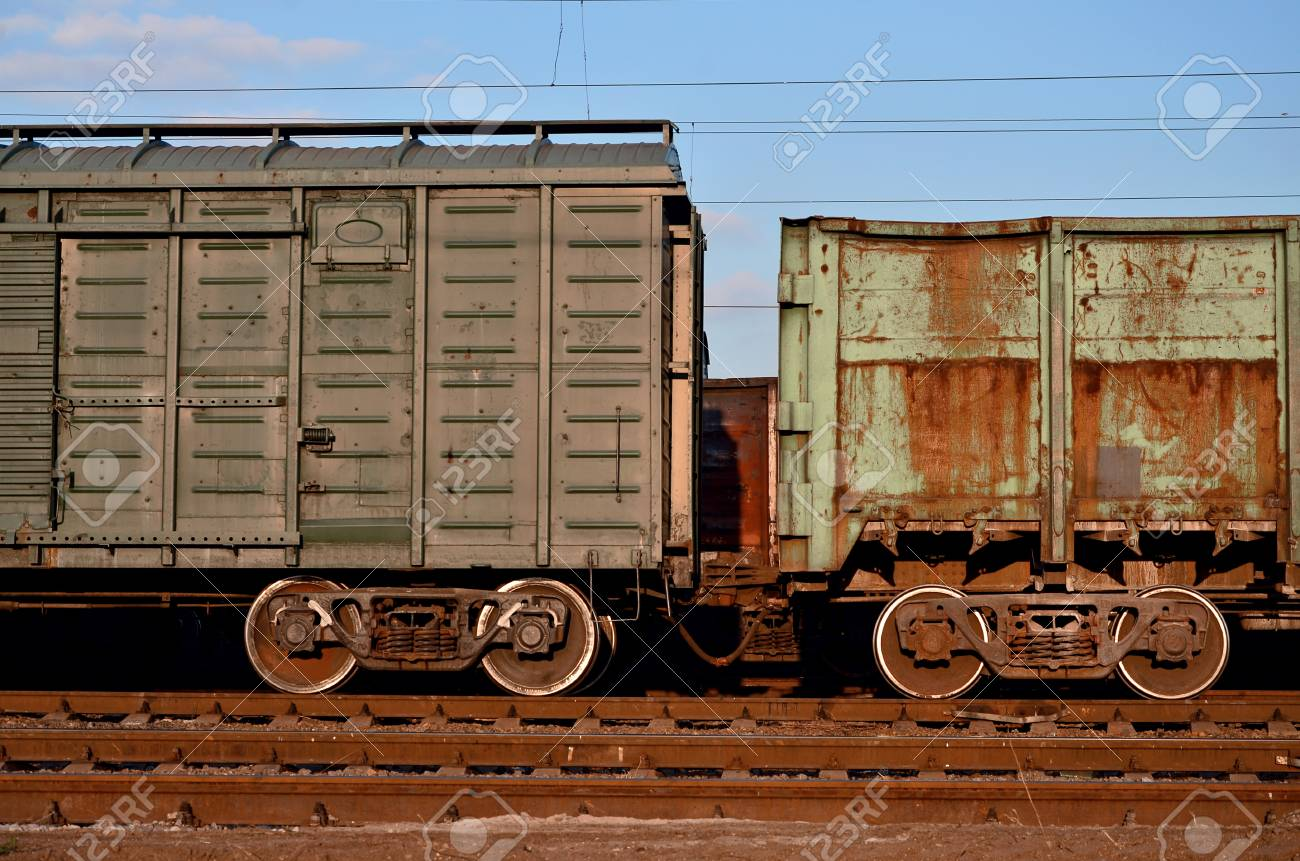 Detailed photo of railway freight car  A fragment of the component
