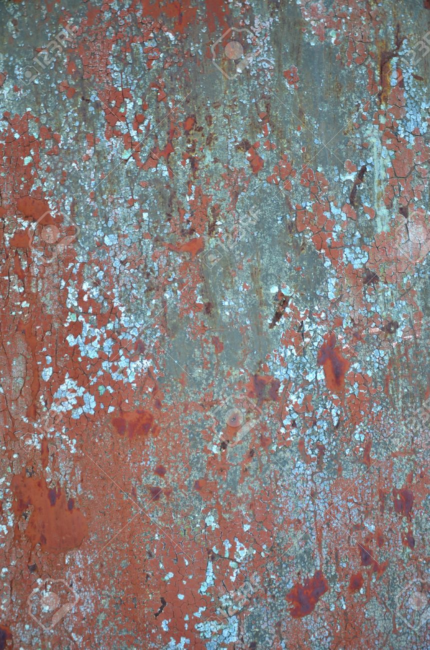 Rusty Metal Texture With Scratched Surface Old Painted Metal