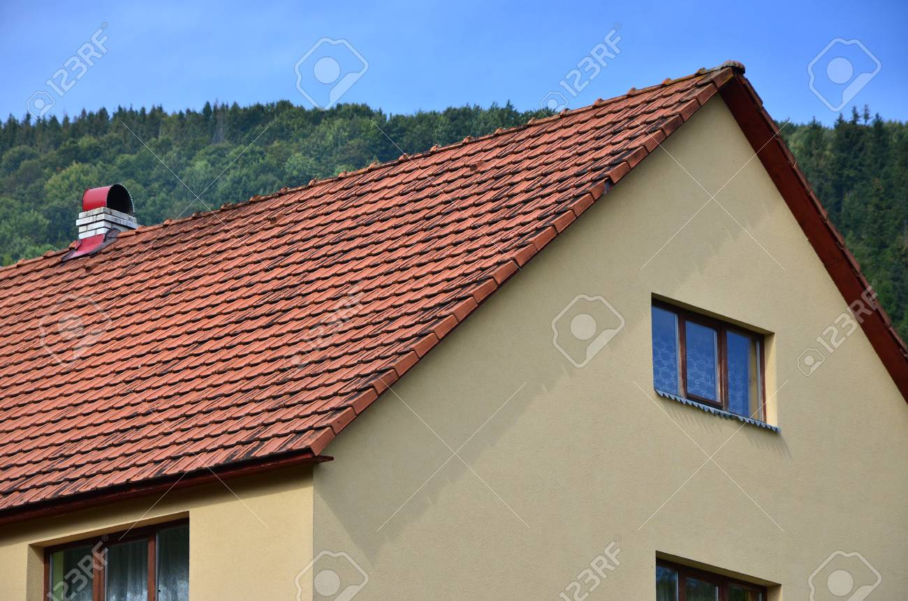 stock photo the roof of this square ceramic tile is red the old type of roof covering in rich houses of the 19th century - Roof Covering
