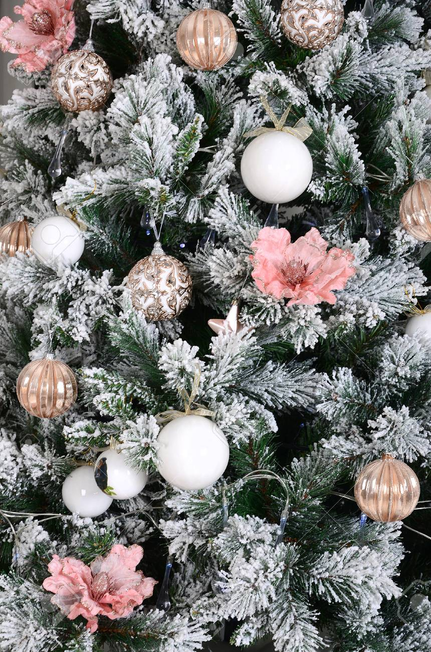 Decorating Christmas Tree Close Up Decoration Bulb Snowy Green Stock Photo Picture And Royalty Free Image Image 91907957