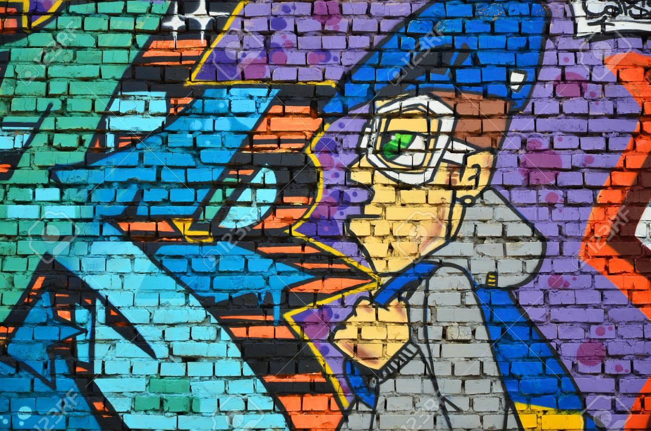 Imagem Detalhada Do Desenho De Graffiti De Cor Fundo Da Arte Da Rua Do Fundo Com Um Caráter Pintado Parte Da Obra Prima Colorida Pelos Grafiteiros
