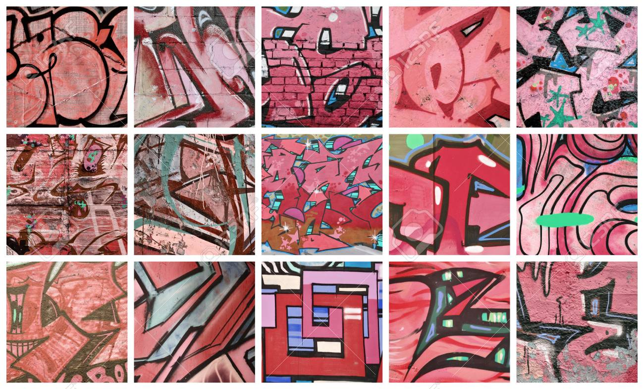 A set of many small fragments of graffiti drawings street art abstract background collage in