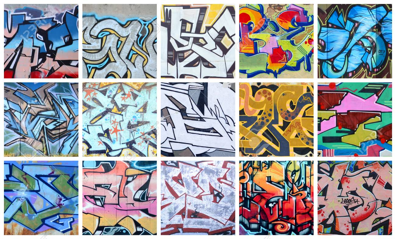 A set of many small fragments of graffiti drawings street art abstract background collage stock