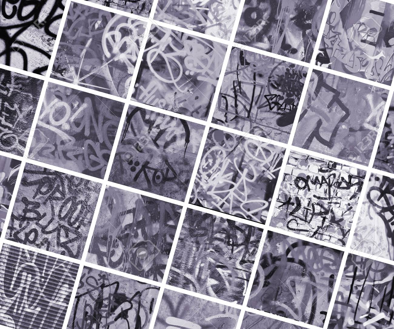 A set of many small fragments of tagged walls graffiti vandalism abstract background collage stock