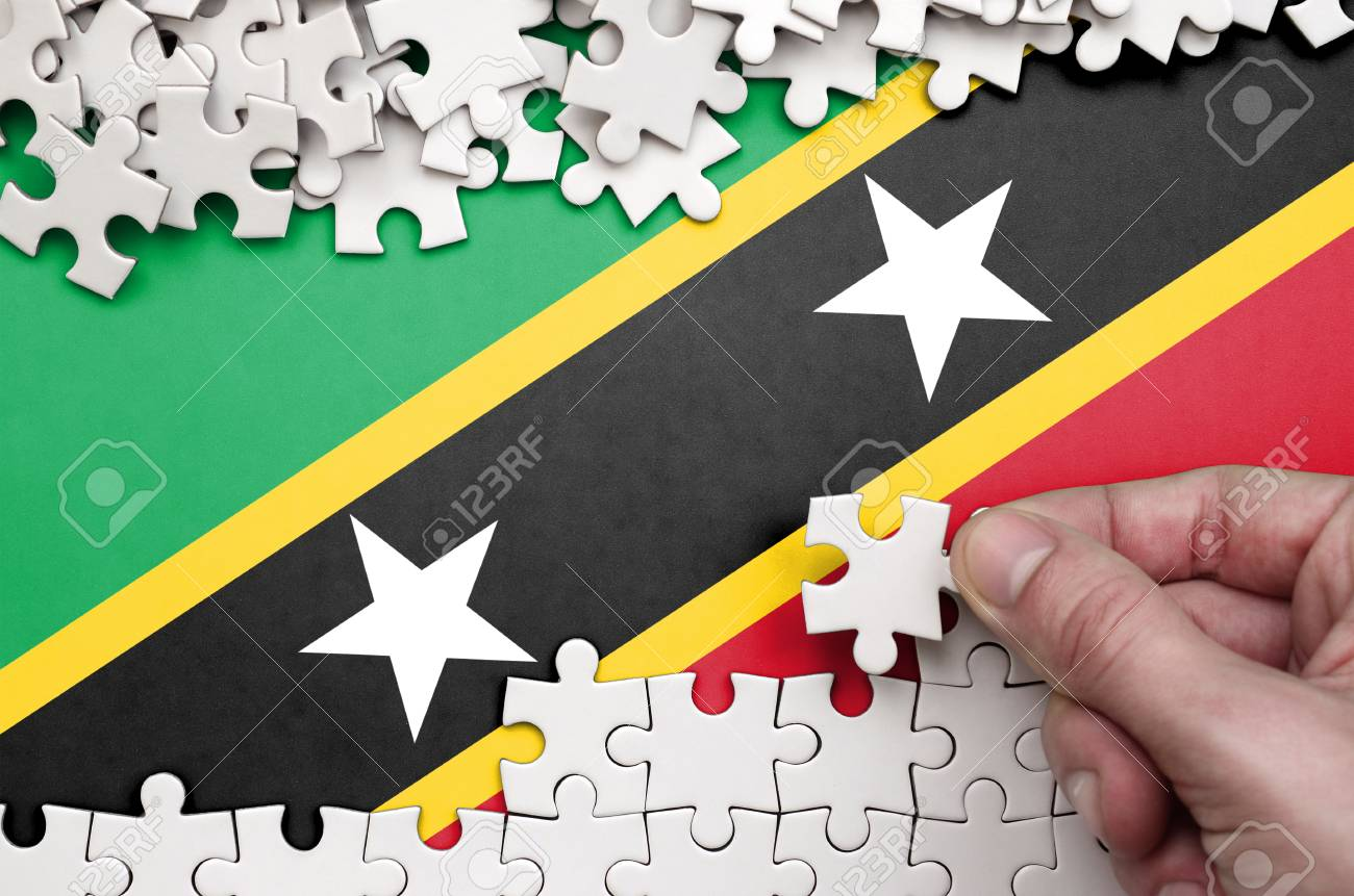 saint kitts and nevis flag is depicted on a table on which the