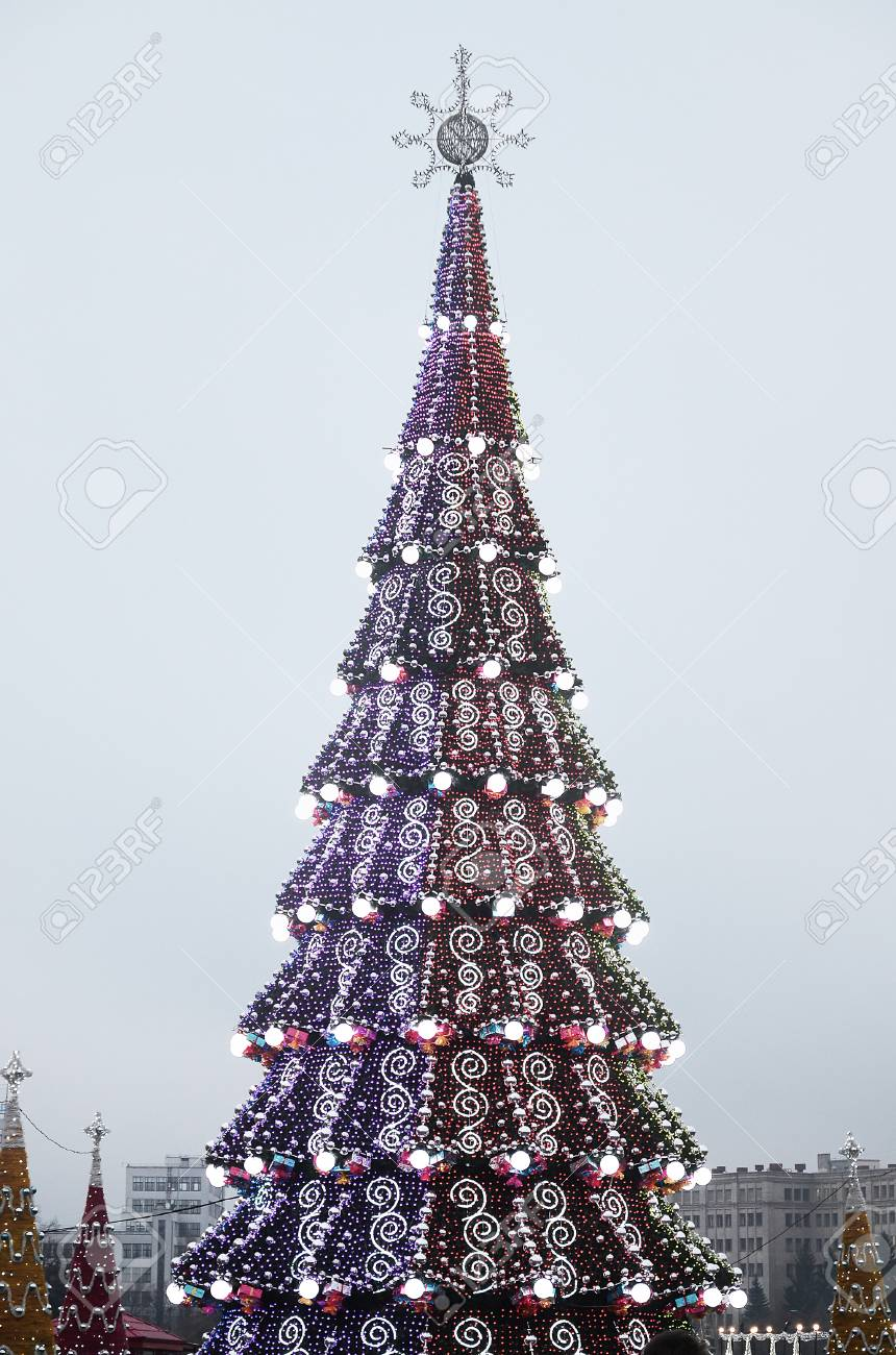 Artificial Christmas Tree Stand.A Huge Artificial Christmas Tree Stands On The Square Of Freedom