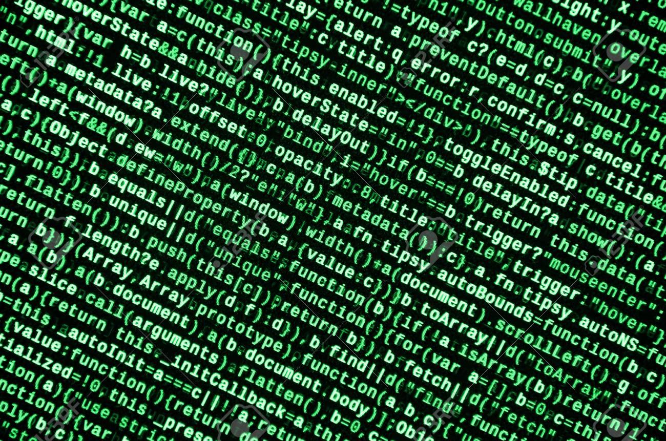 Writing programming code on laptop  Digital binary data on computer