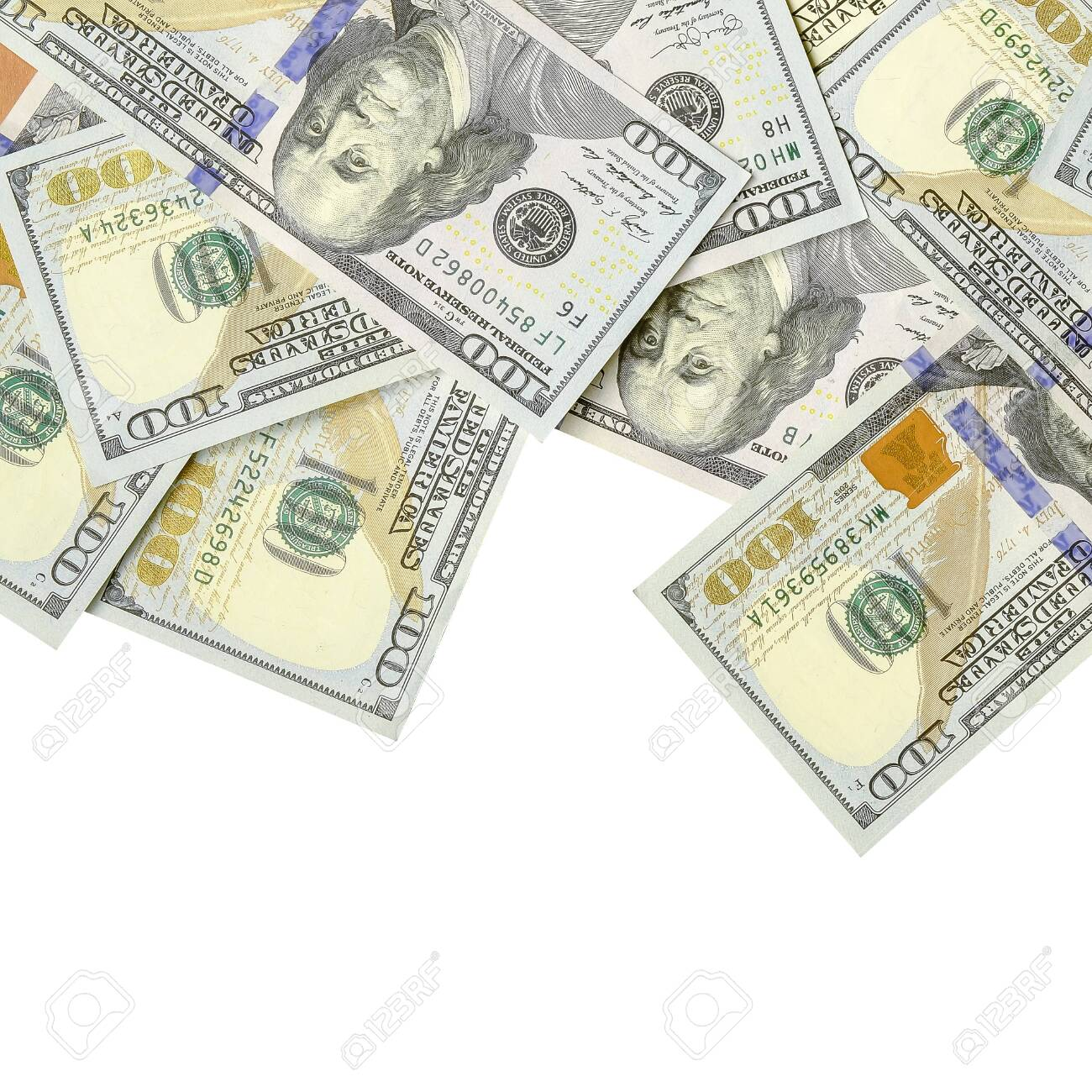 A border of American money isolated on white with copy space. Money Border of hundred dollar bills - 120288130