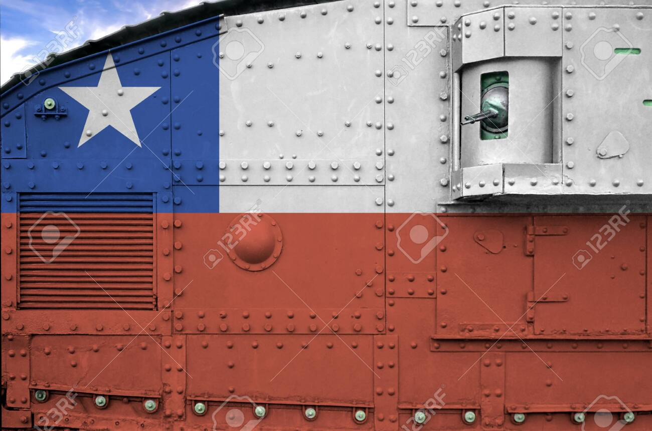 Chile flag depicted on side part of military armored tank close up. Army forces conceptual background - 135371916
