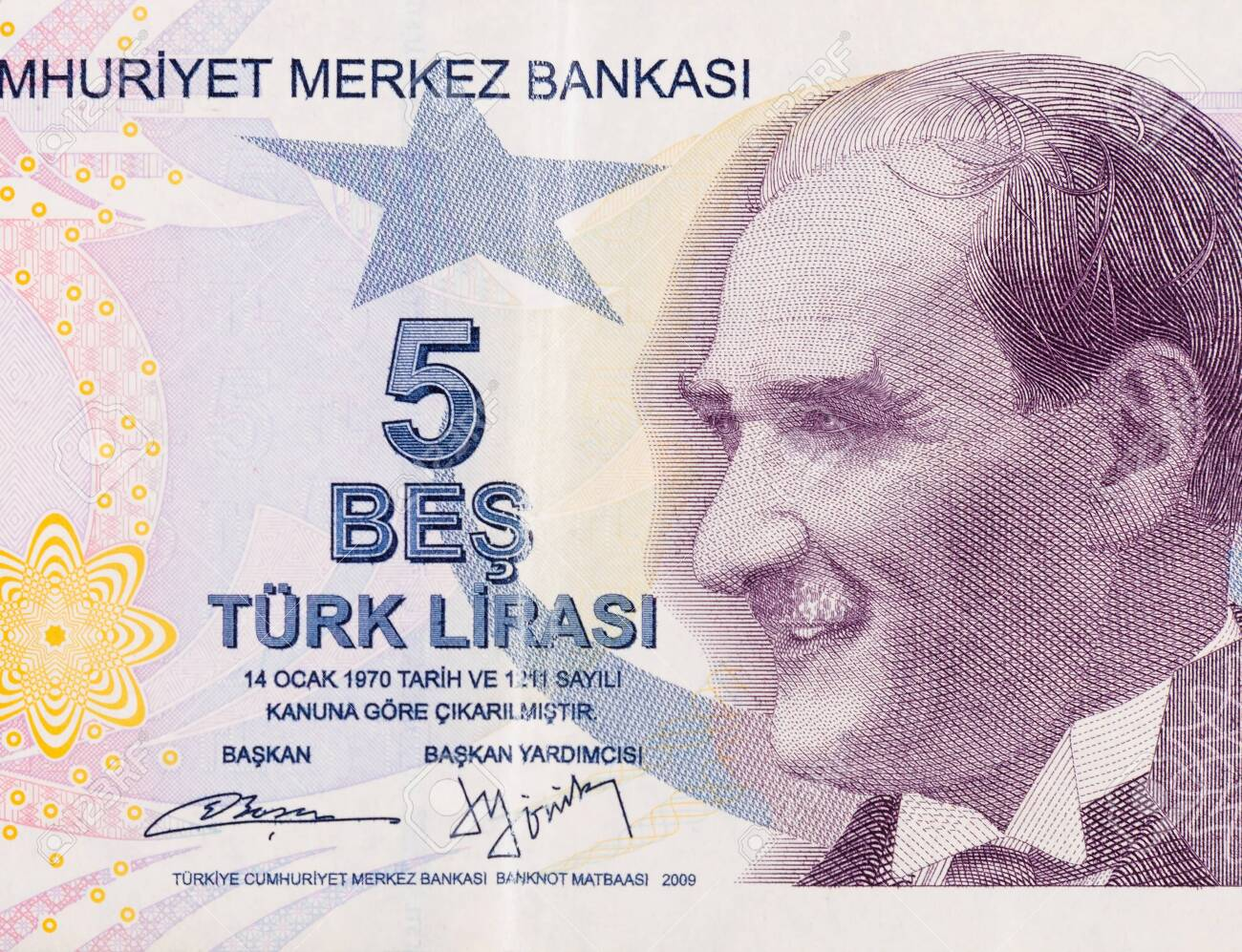 President Mustafa Kemal Ataturk Portrait from Turkey 5 Lira 2009 Banknotes close up fragment - 138431484