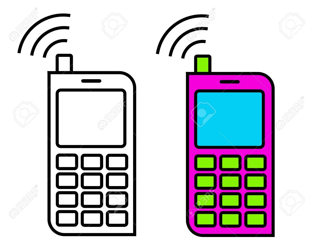 携帯電話シンプルなアイコン クリップアート ベクトルのイラスト素材