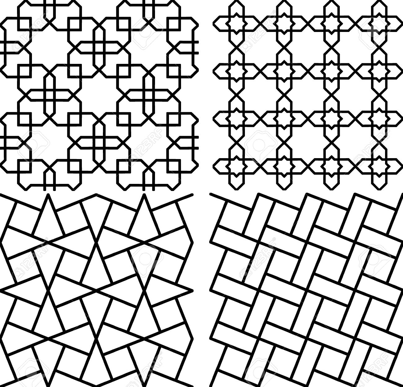 4 Simple Persian Islamic Pattern Royalty Free Cliparts, Vectors ... for Simple Islamic Designs  29jwn
