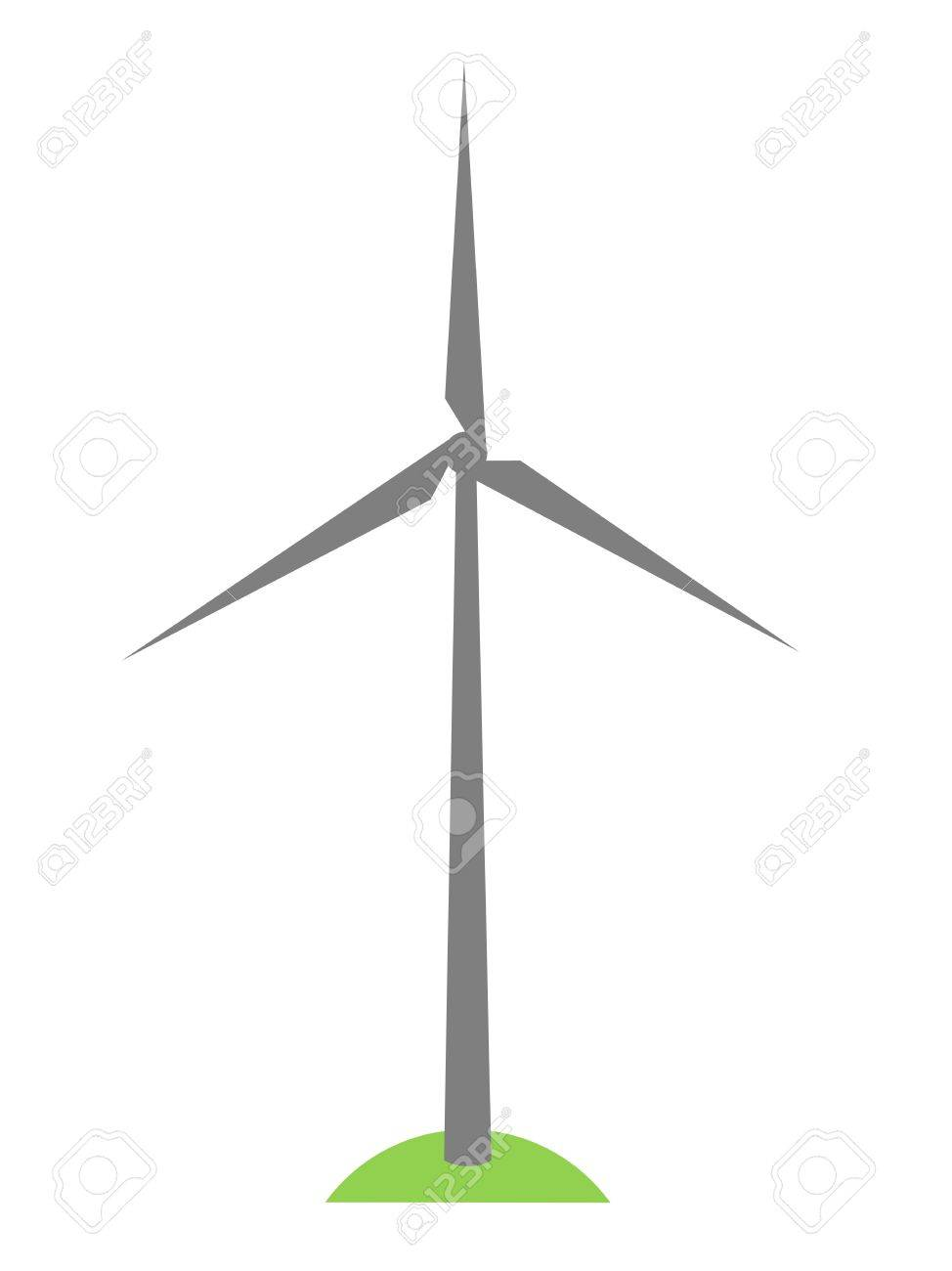 Simplewind Turbine Symbol On Green Grass Royalty Free Cliparts