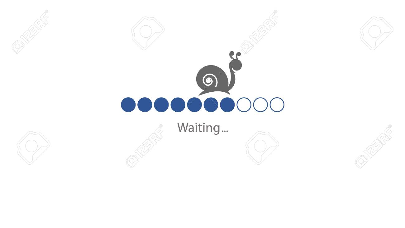 loading template in blue round style and snail is moving slowly