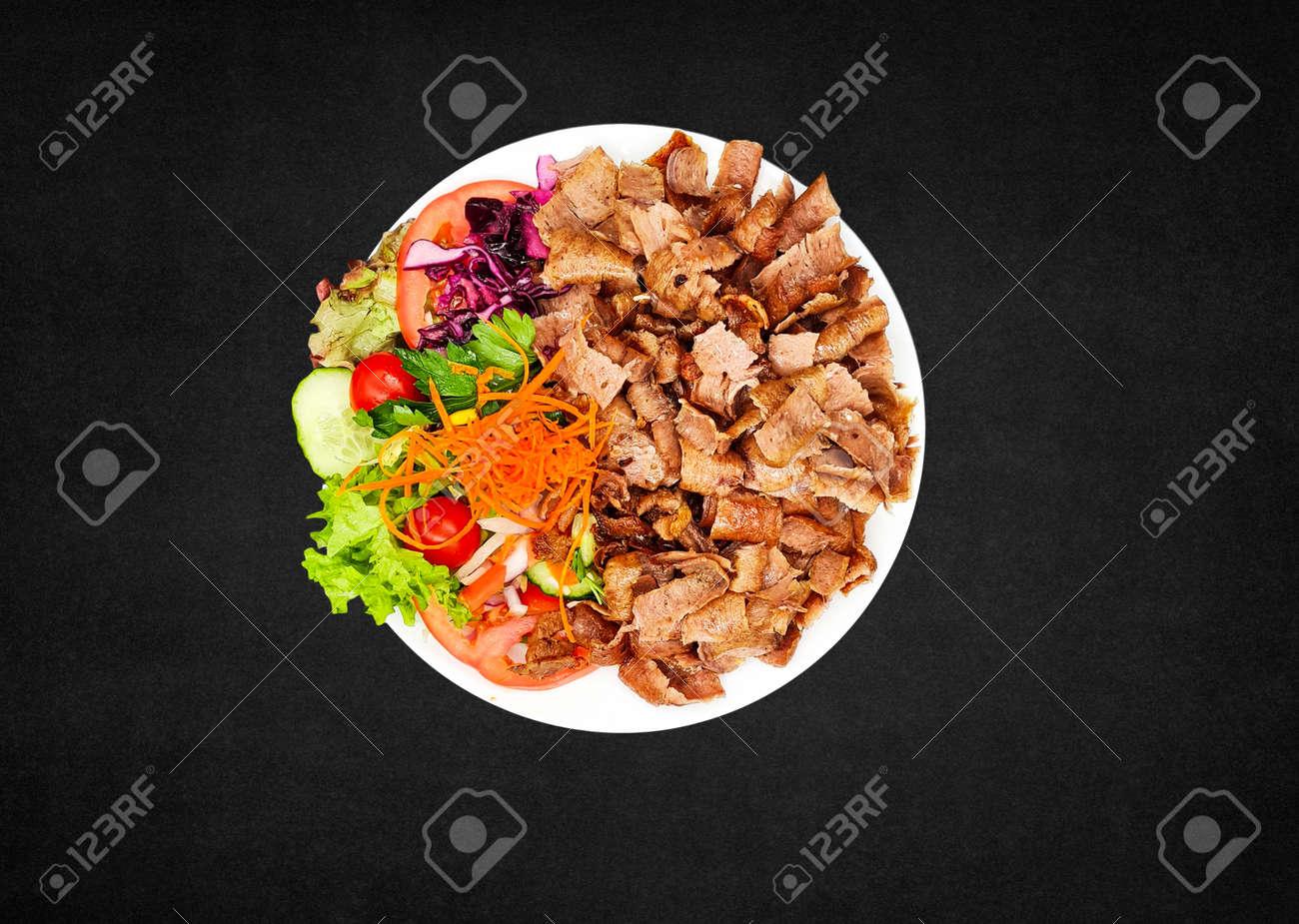Salad Doner Plate, Döner Wires mit Salat - piatto con kebab - 164142808