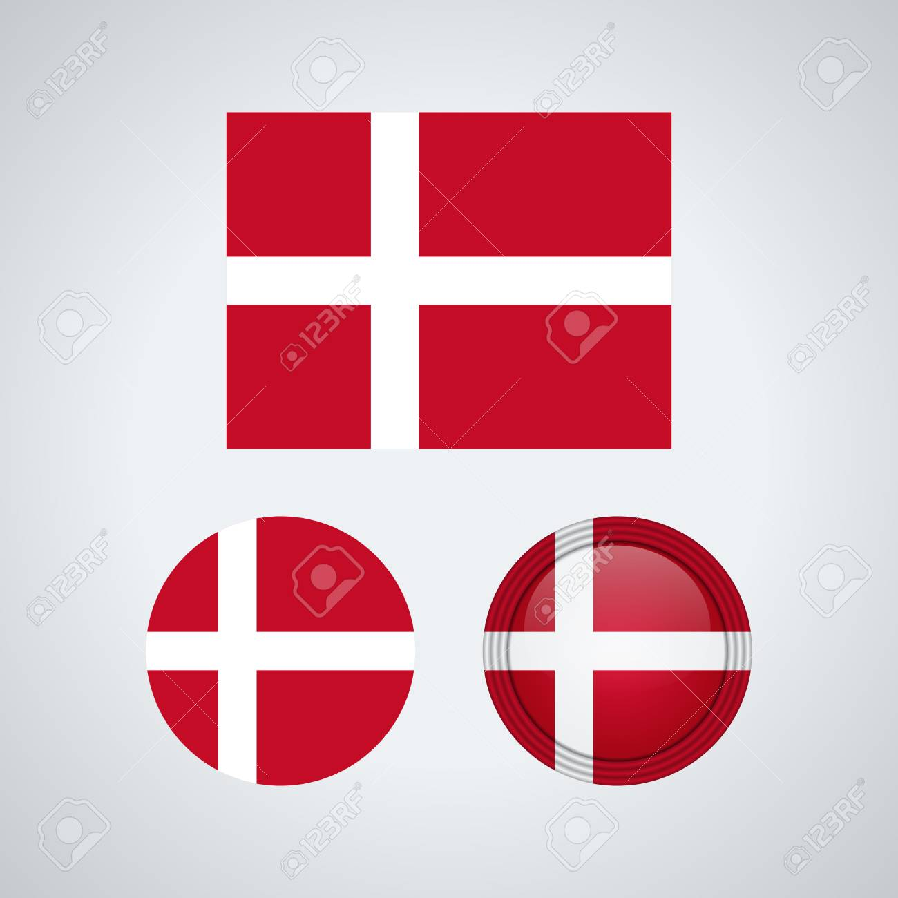 Flag design  Danish flag set  Isolated template for your designs