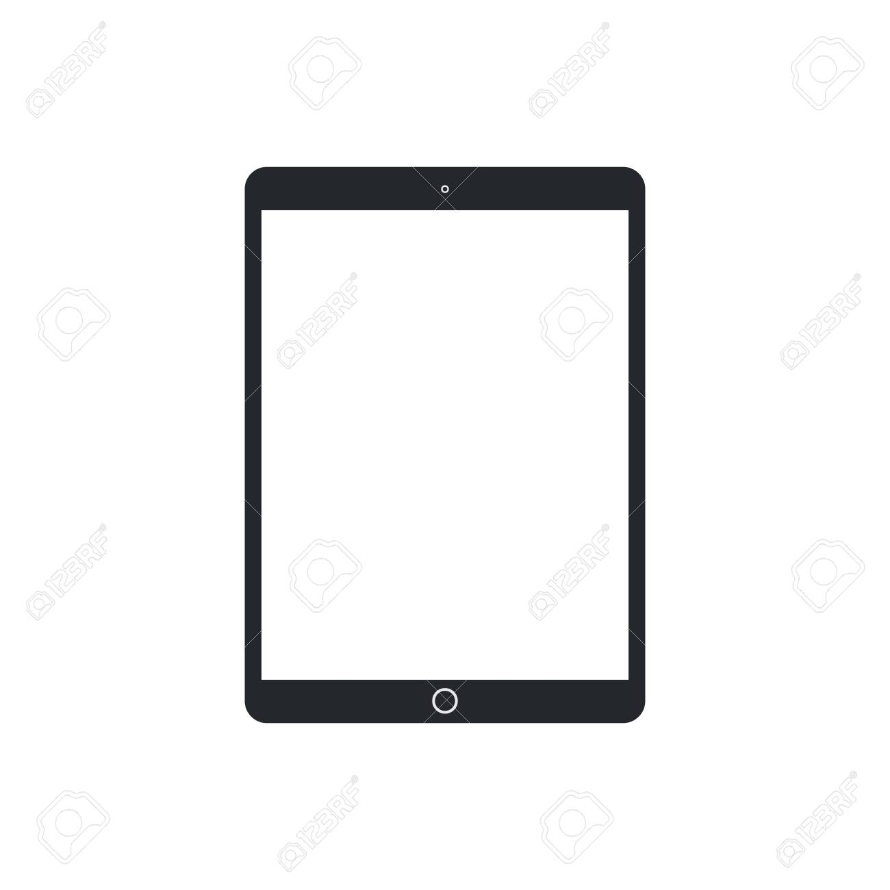 Tablet pc with blank screen on white background. Technological device template. Simple mockup vector design. - 126083797