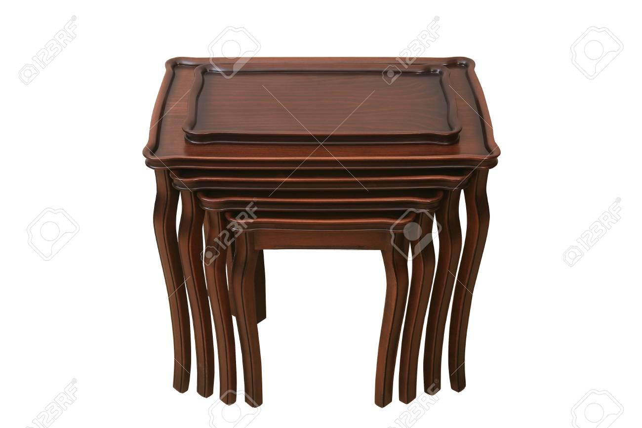 Ronde Houte Tafel : Antieke houten ronde tafel op wit wordt geïsoleerd royalty vrije