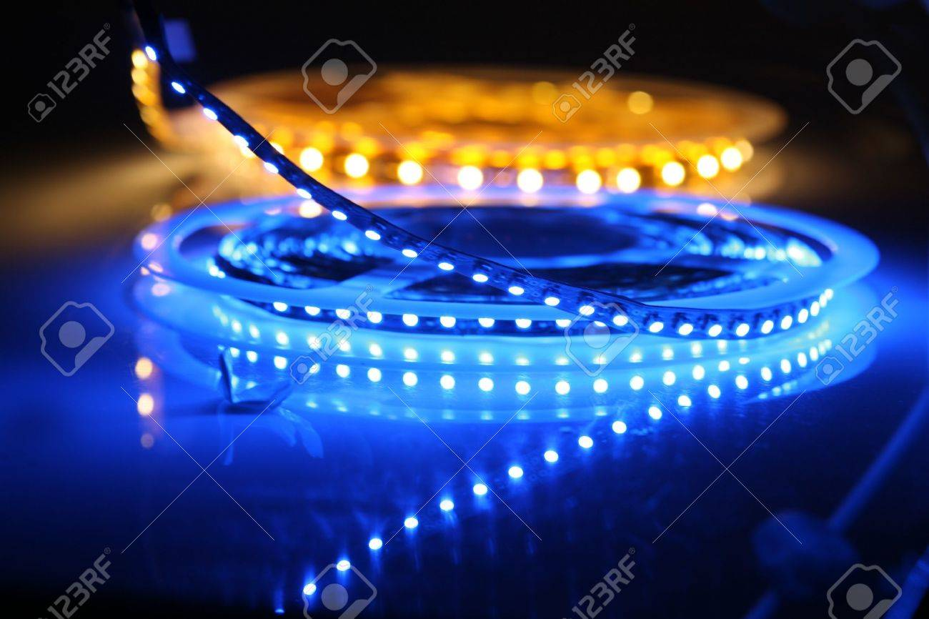 LED lights are glowing on black background Stock Photo - 9375346