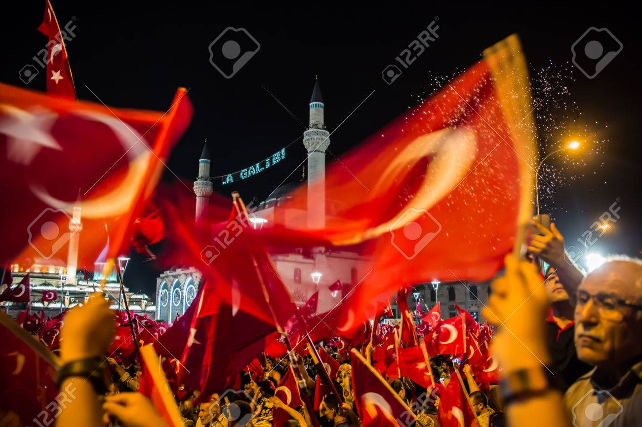 27 July 2016,Konyal - TURKEY: After the military coup in Turkey continues to keep democracy seizures occur in people with flag - 62097685