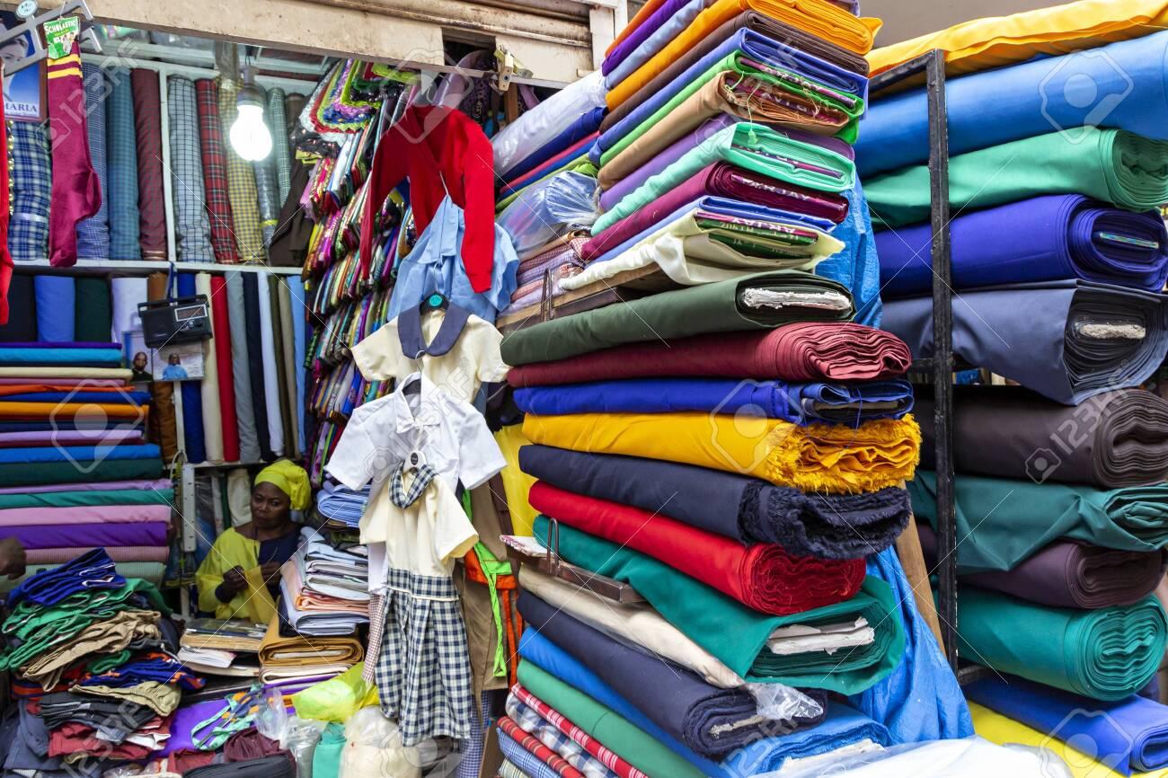 Colorful fabric shop in Kampala, Uganda - 153546525