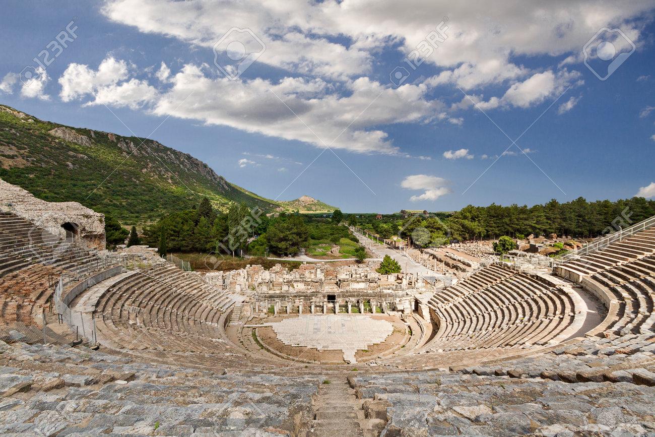 Roman amphitheater in Ephesus in Selcuk, Izmir, Turkey - 161091309