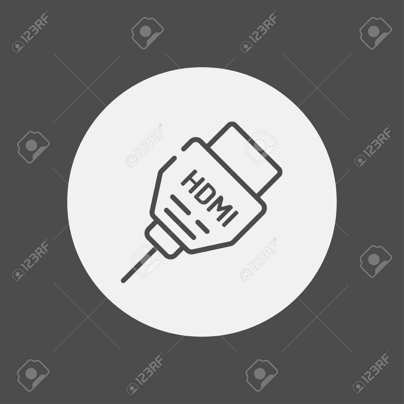 Hdmi Cable Line Icon Outline Vector Sign Linear Style Pictogram