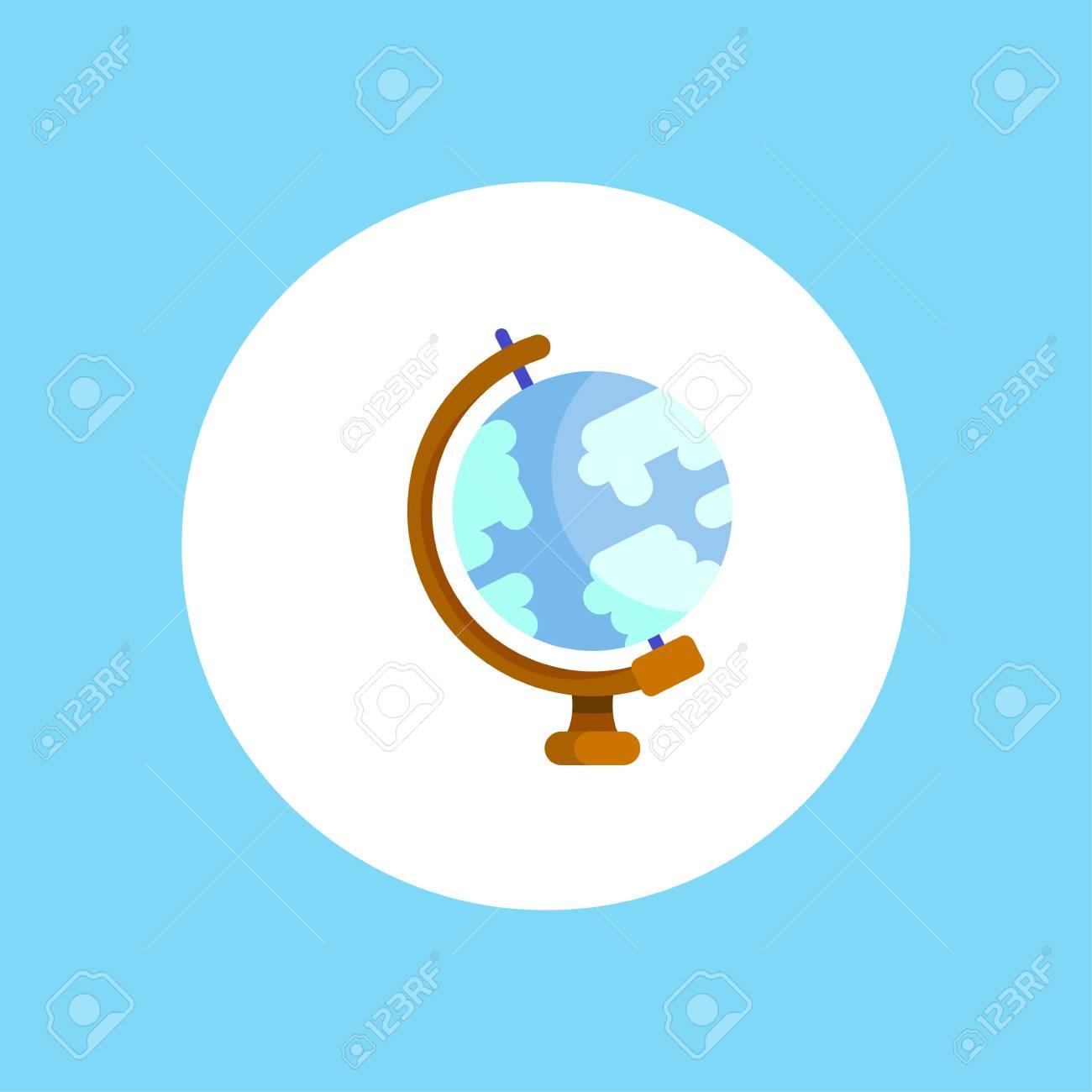 Round Globe Map.Globe World Map Vector Icon Round Earth Flat Vector Illustration