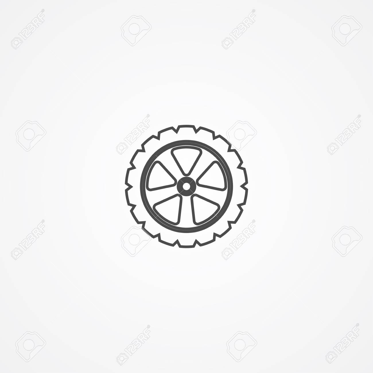 tire icon vector filled flat sign solid pictogram isolated