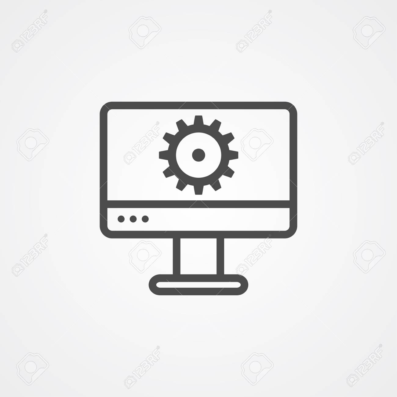 Monitor settings icon vector, filled flat sign, solid pictogram
