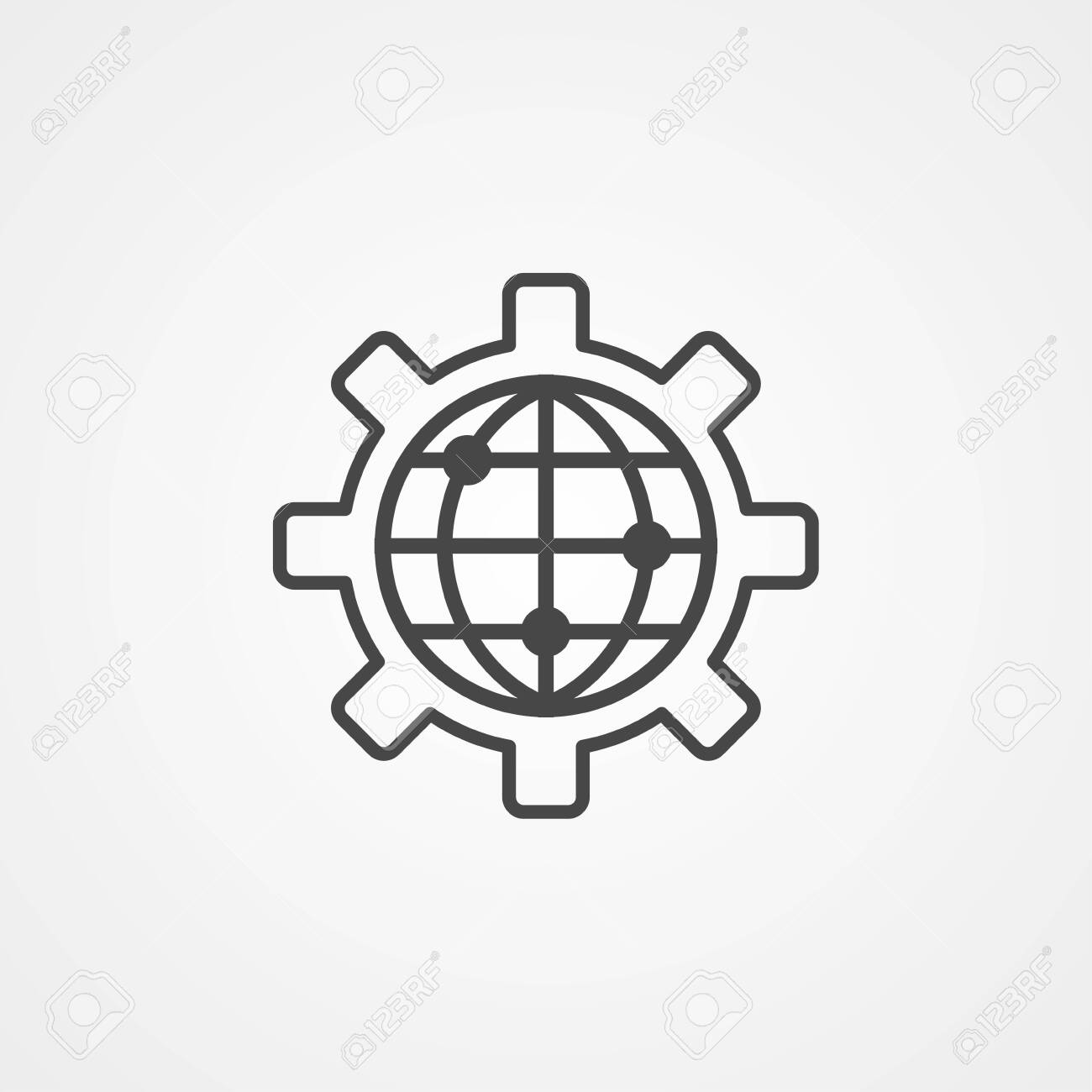 Global settings icon vector, filled flat sign, solid pictogram
