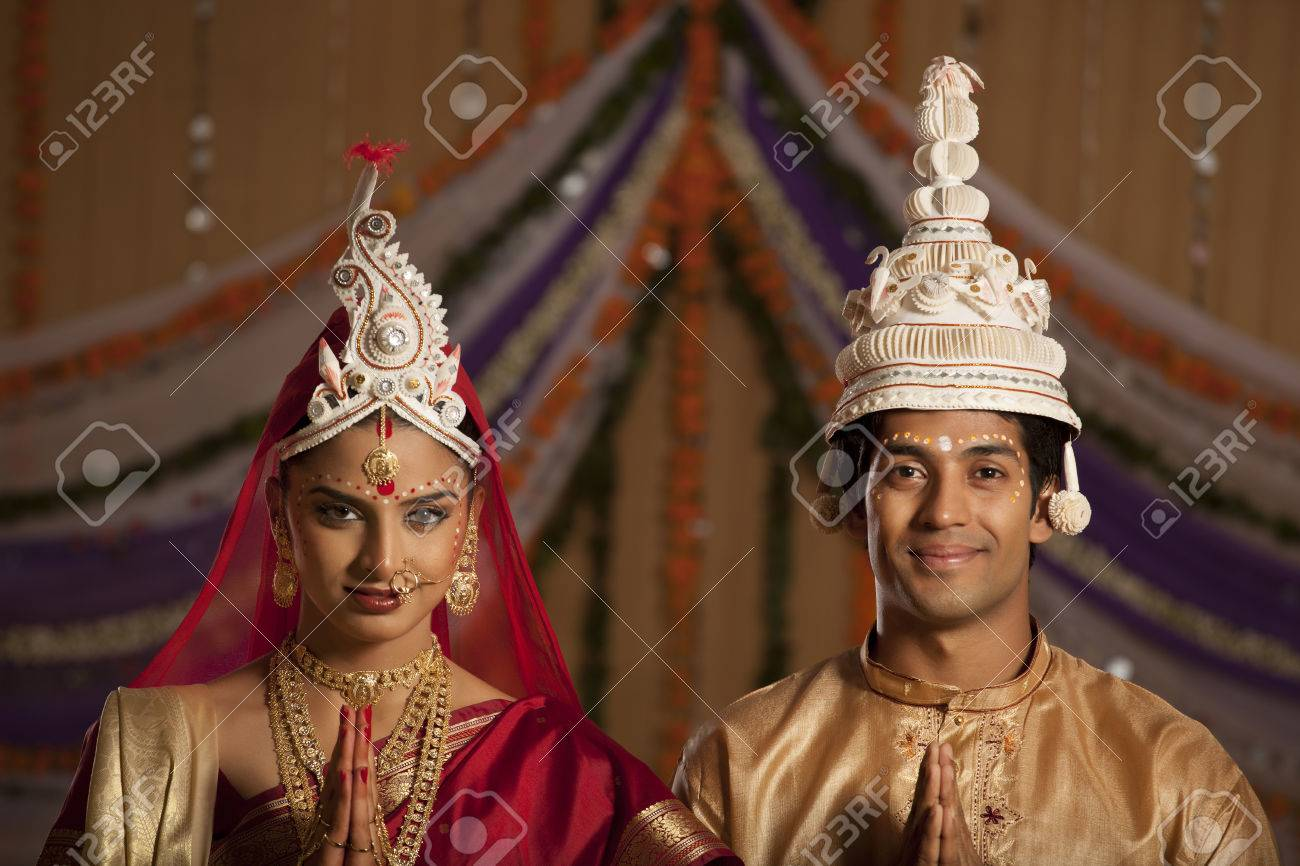 Portrait Of Bengali Bride And Groom Greeting Stock Photo Picture