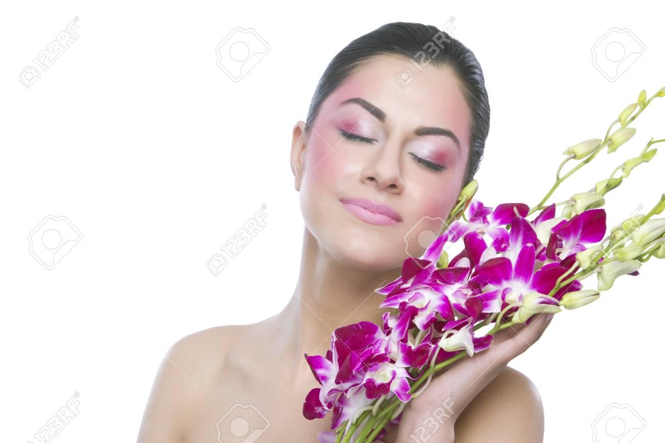 Beautiful woman with flowers stock photo picture and royalty free beautiful woman with flowers stock photo 80736159 izmirmasajfo