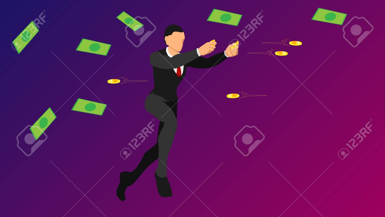 businessmen throw gold coins. flat vector characters with solid colors. - 136053389