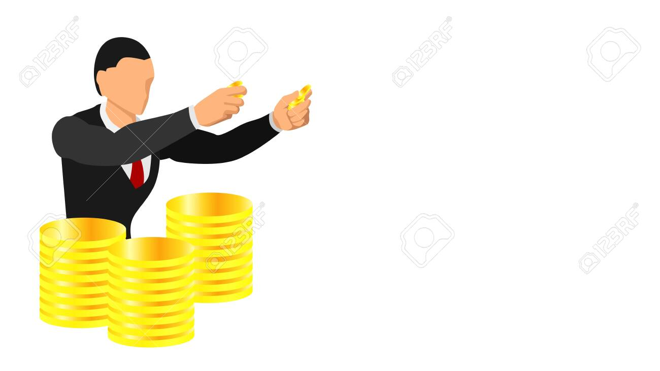 a businessman holding a gold coin. illustration of having gold coins as inventory. Promotional and presentation background templates. - 136053392