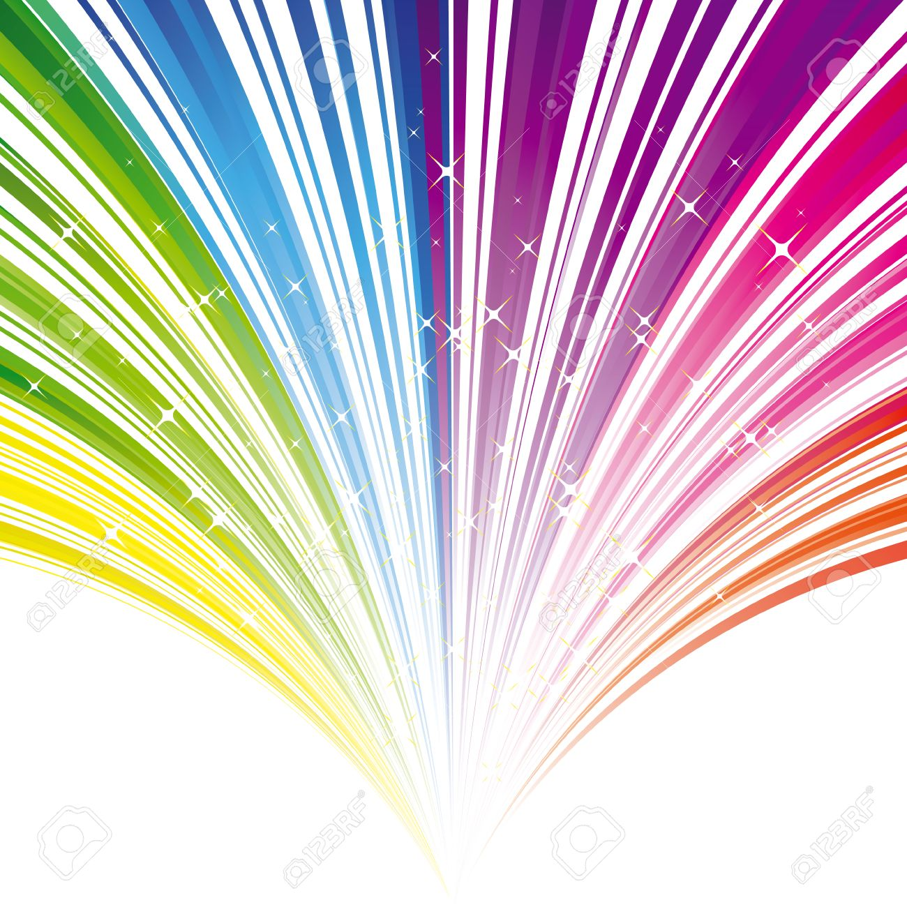 Abstract rainbow color stripe background with stars Stock Vector - 6157576